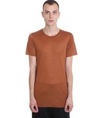 rick owens basic s-s t-shirt in brown silk