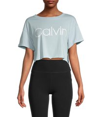 calvin klein women's logo cropped t-shirt - aquatic - size m