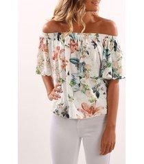 blusa blanca con estampado floral al azar fuera del hombro diseño