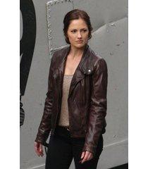 handmade minka kelly lovely brown biker leather jacket, brown women's jacket