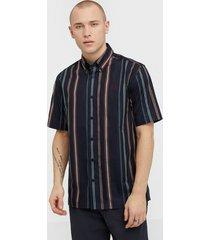 fred perry stripe shirt skjortor navy