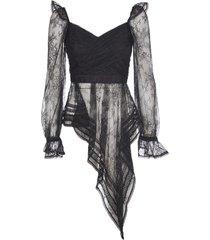 self-portrait black top with lace