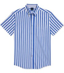 tommy hilfiger adaptive men's cooke custom-fit stripe shirt with magnetic buttons