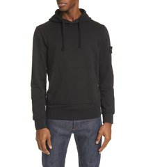 men's stone island logo patch hooded sweatshirt
