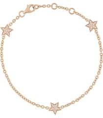 alinka 18kt rose gold stasia mini triple star diamond bracelet -