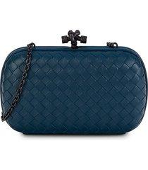 bottega veneta women's intrecciato leather convertible clutch - blue