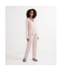 pijama americano longo em viscolycra com estampa de corações | lov | rosa | g