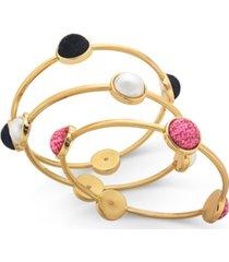inc gold-tone 3-pc. set imitation pearl & tweed bangle bracelets, created for macy's