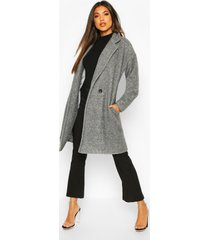 luxe brushed wool look button through coat, grey