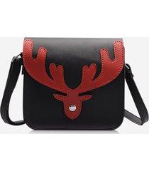 christmas colorblock antler pattern crossbody bag