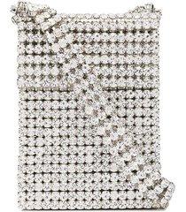 area small crystal-embellished shoulder bag - silver
