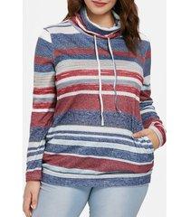 color block striped plus size sweatshirt