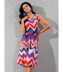 jersey jurk amy vermont blauw::rood::roze