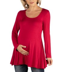 24seven comfort apparel long sleeve solid color swing style flared maternity tunic top