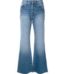 eva love denim flared trousers - blue