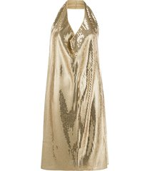 bottega veneta cowl-neck sequinned mini dress - neutrals
