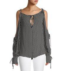 milly women's polka dot-print silk top - black white - size xs