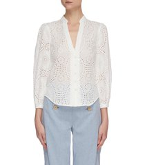 'alex' borderie anglaise button front top