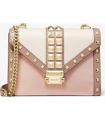 mk borsa a spalla whitney convertibile grande in pelle tricolore con borchie - rosa tenue/crema chiaro/marrone chiaro (rosa) - michael kors