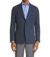 men's canali trim fit plaid jersey sport coat, size 48 us - blue