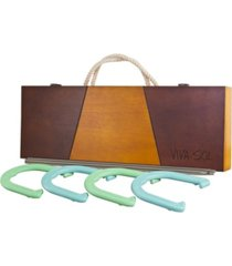 viva sol premium horseshoes outdoor game set with 4 horseshoes, 2 stakes, and wooden case