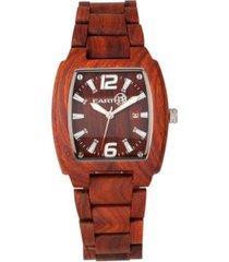 earth wood sagano wood bracelet watch w/date red 42mm