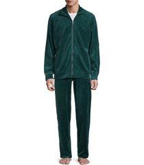 hom men's 2-piece velvet zip jacket & pants loungewear set - navy - size s