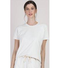 t-shirt feminina mindset manga curta decote redondo off white