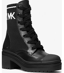 mk stivale combat brea in pelle e tessuto elasticizzato - nero/bianco (nero) - michael kors