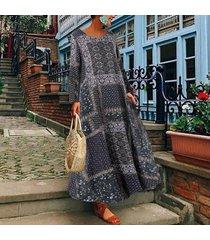 zanzea verano de las mujeres flojas ocasionales de la playa vestido señoras de kaftan maxi vestidos más el tamaño -azul marino