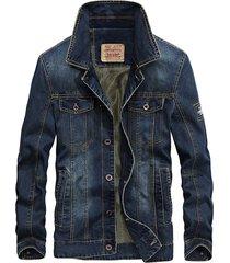 chaqueta hombre denim moda casual slim 1688 azul oscuro