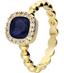 anello placcato oro con pietra blu e zirconi per donna