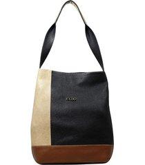 bolsa em couro recuo fashion bag totem preto/bege/caramelo