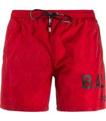 balmain logo print swim shorts - red