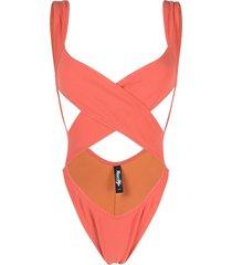 reina olga exotica criss-cross swimsuit - orange