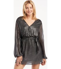sanctuary women's its party time faux wrap dress in color: black shine size xs from sole society