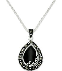 onyx (1-1/5 ct. t.w.) & marcasite pendant necklace in fine silver-plate