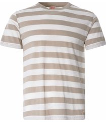 armor lux wide stripe heritage t-shirt | flax/natural | 77345-fud