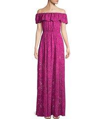 clea off-the-shoulder burnout gown