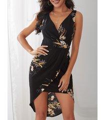 midi sin mangas con estampado floral al azar negro vestido