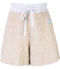 off-white logo patch fluffy knit shorts - neutrals