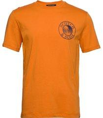 crewneck tee with logo artwork t-shirts short-sleeved orange scotch & soda