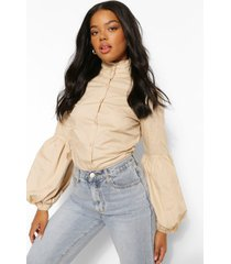 cotton poplin high neck volume sleeve shirt, stone