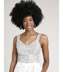 top cropped feminino em tule com paetê alça média decote v bege claro