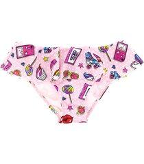 mc2 saint barth nineties patch print ruffled girls swim bottom