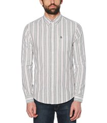 original penguin men's slim-fit striped oxford shirt