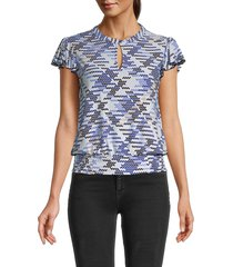 tommy hilfiger women's printed flutter-sleeve top - midnight - size m
