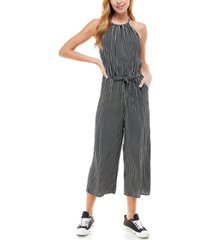 kingston grey juniors' striped keyhole-back halter jumpsuit