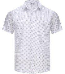 camisa hombre puntos cruces color blanco, talla l