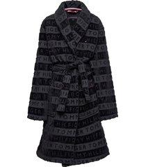 jacquard robe ochtendjas badjas zwart tommy hilfiger